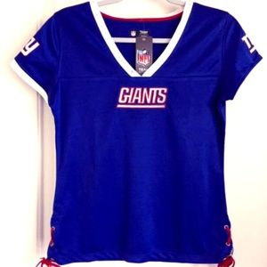NY Giants Fashion Lace Up Jersey Top